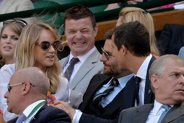 Bear Grylls, Bradley Cooper, his model girlfriend Suki Waterhouse and a very happy Brian O'Driscoll (Reuters)